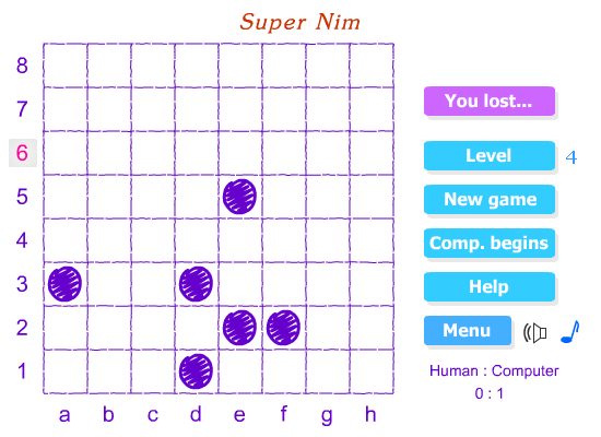 Super Nim game screen