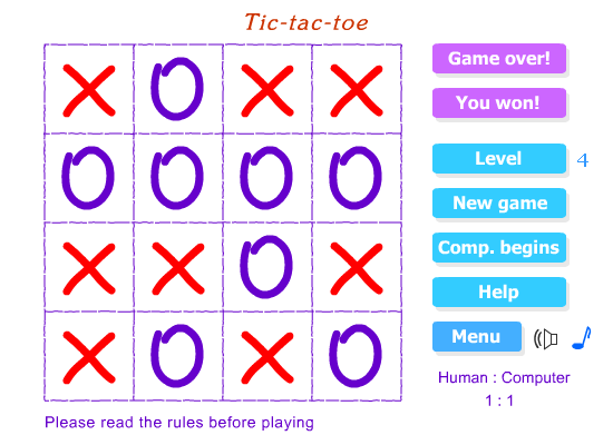 Tic-tac-toe game screen